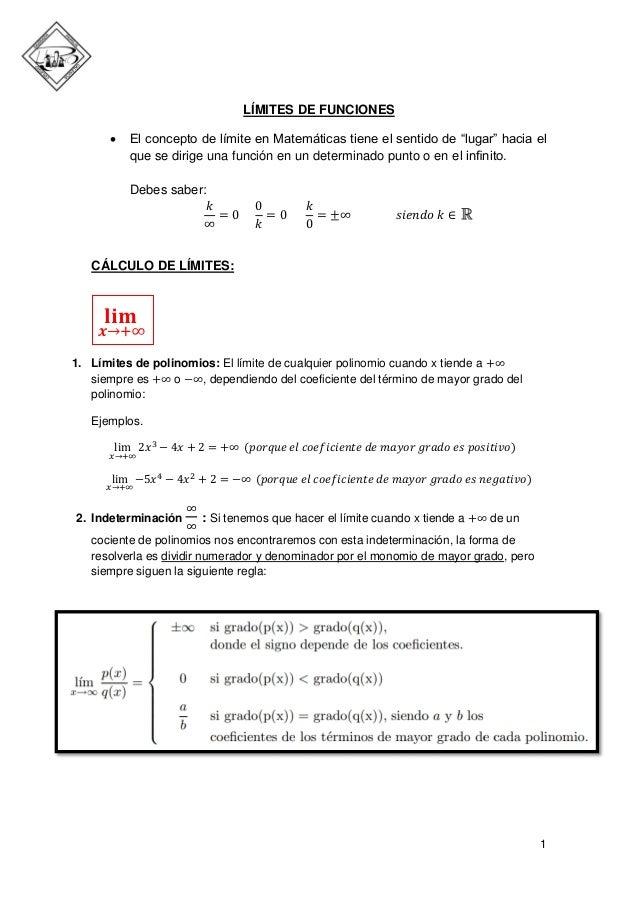 """LÍMITES DE FUNCIONES   El concepto de límite en Matemáticas tiene el sentido de """"lugar"""" hacia el que se dirige una funció..."""