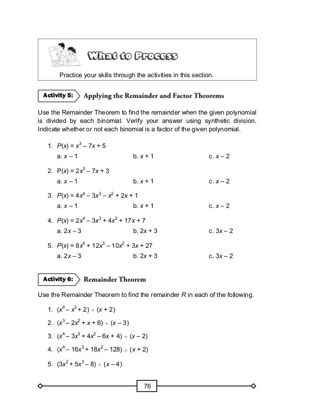 Factor Theorem Worksheet - Synhoff