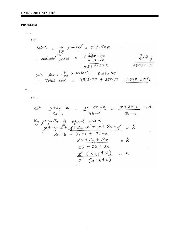 LMR - 2011 MATHSPROBLEM 1. .    ANS: 2. .    ANS:                   1