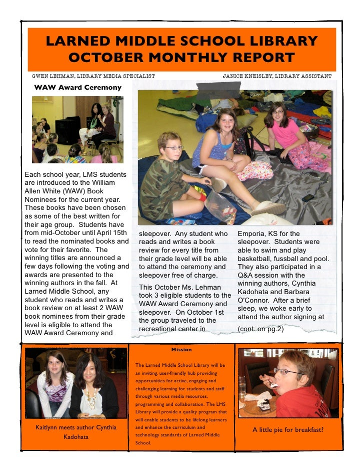 LARNED MIDDLE SCHOOL LIBRARY        OCTOBER MONTHLY REPORT  GWEN LEHMAN, LIBRARY MEDIA SPECIALIST                       ...