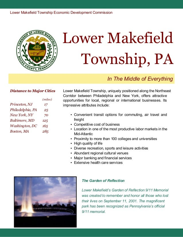 Lower Makefield Township Economic Development Commission  Lower Makefield Township, PA In The Middle of Everything Distanc...