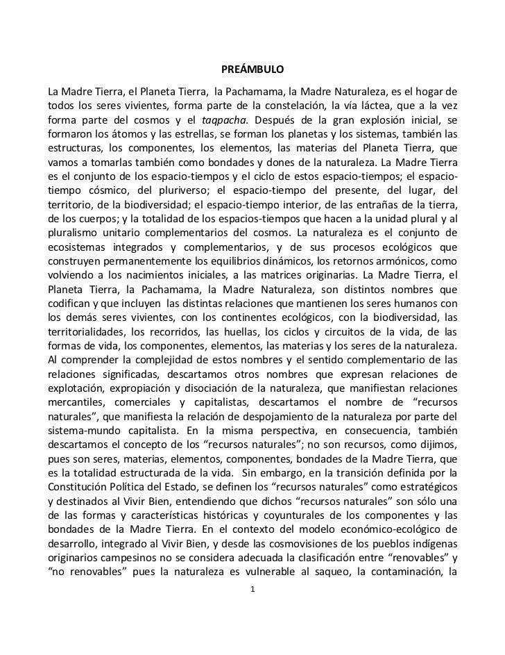 BOLIVIA: Ley de la Madre Tierra
