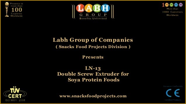 Labh Group of Companies( Snacks Food Projects Division )PresentsLN-13Double Screw Extruder forSoya Protein Foodswww.snacks...