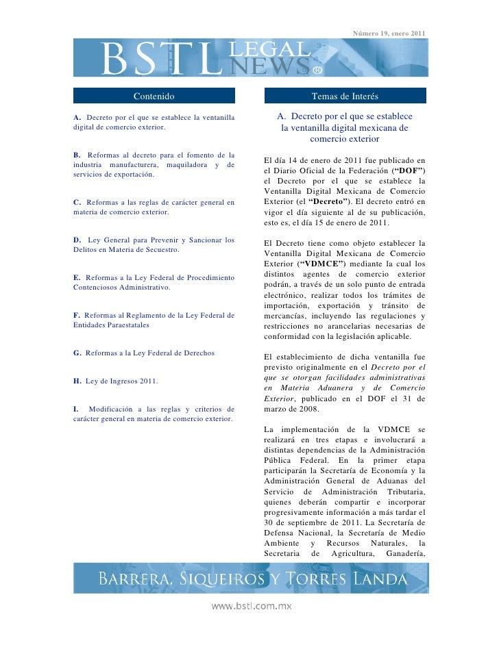 Legal News Número 19. Enero 2011