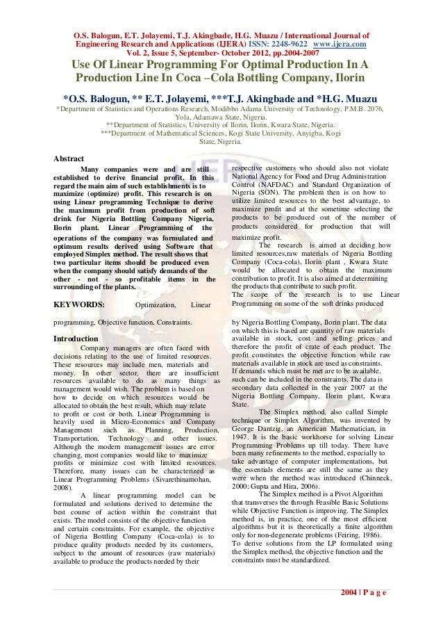 O.S. Balogun, E.T. Jolayemi, T.J. Akingbade, H.G. Muazu / International Journal of      Engineering Research and Applicati...