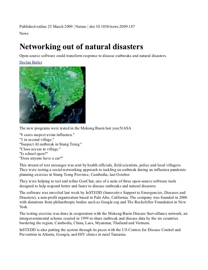 Nature article: networking out of natural disasters