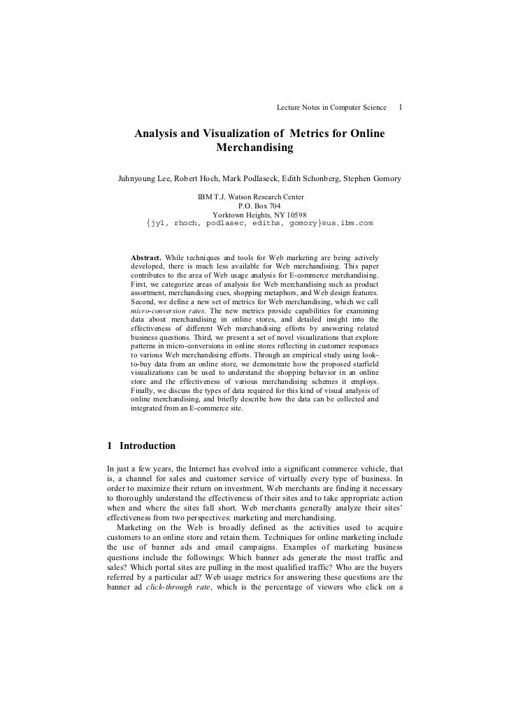 Lecture Notes in Computer Science    1        Analysis and Visualization of Metrics for Online                       Merch...