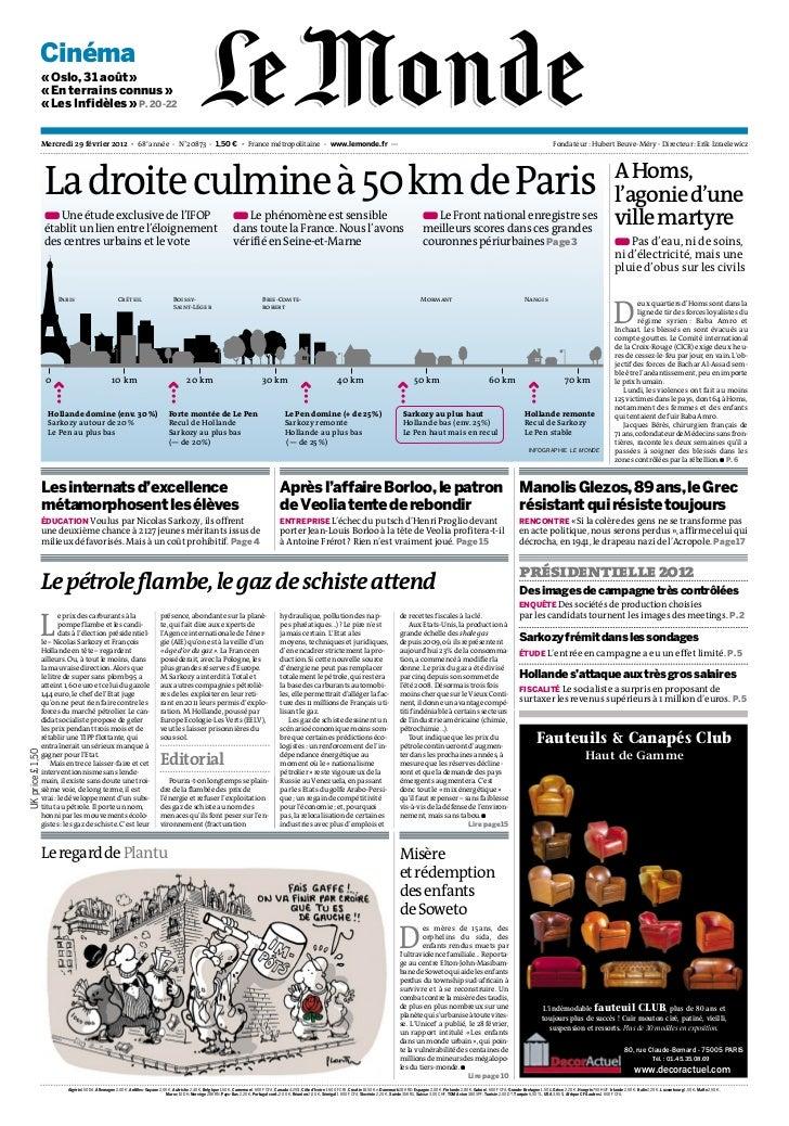 journal le monde du 29-2-2012