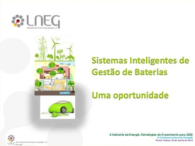 Lab. Nacional de Energia e Geologia, I.P. Portugal A Indústria da Energia: Estratégias de Crescimento para 2020 3ª Conferê...