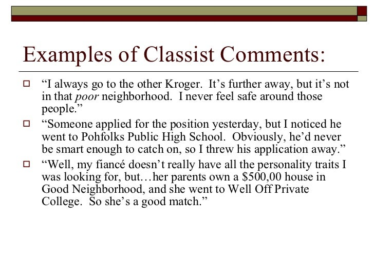 Classism Essay