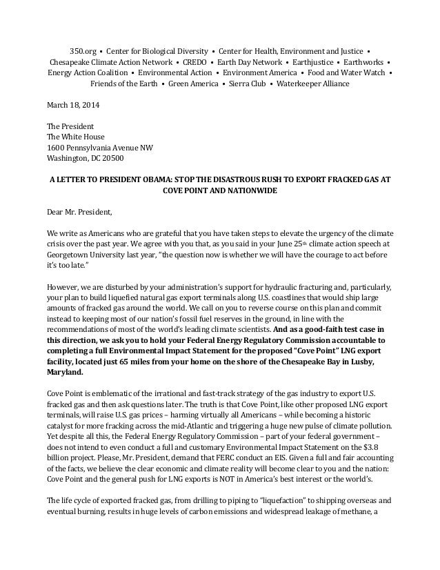 Letter from Several Global Warming Alarmist Groups Asking President Obama to Nix Cove Point, MD LNG Export Project