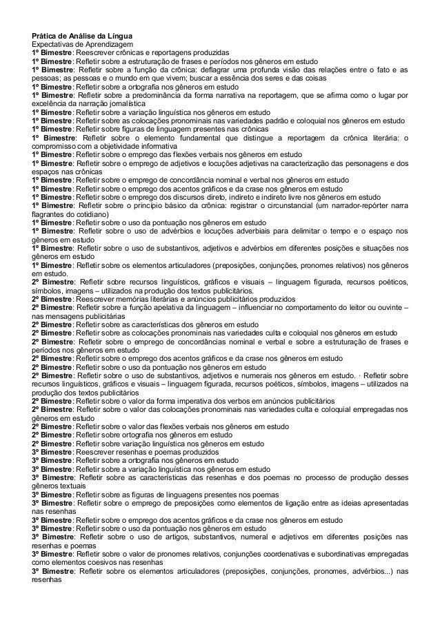 Prática de Análise da Língua Expectativas de Aprendizagem 1º Bimestre: Reescrever crônicas e reportagens produzidas 1º Bim...