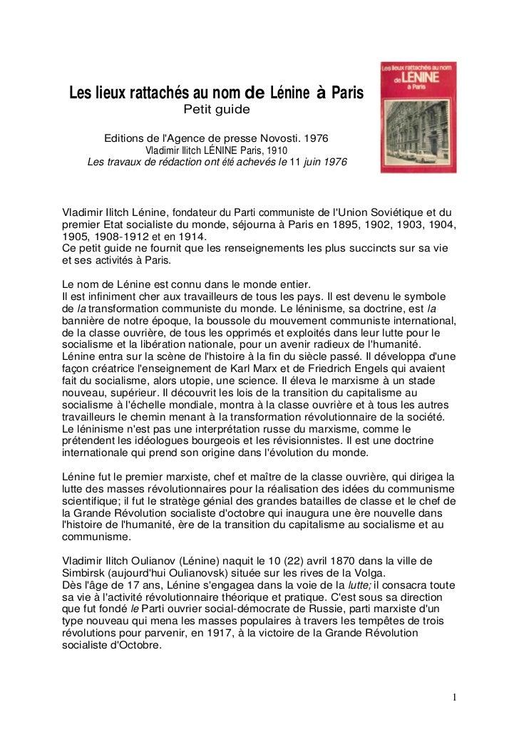 Les lieux rattachés au nom de Lénine à Paris                          Petit guide        Editions de lAgence de presse Nov...