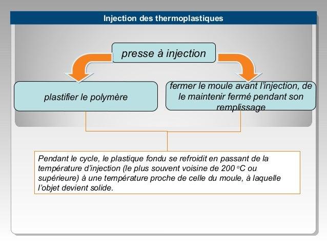 Injection des thermoplastiques  presse à injection  plastifier le polymère  fermer le moule avant l'injection, de le maint...