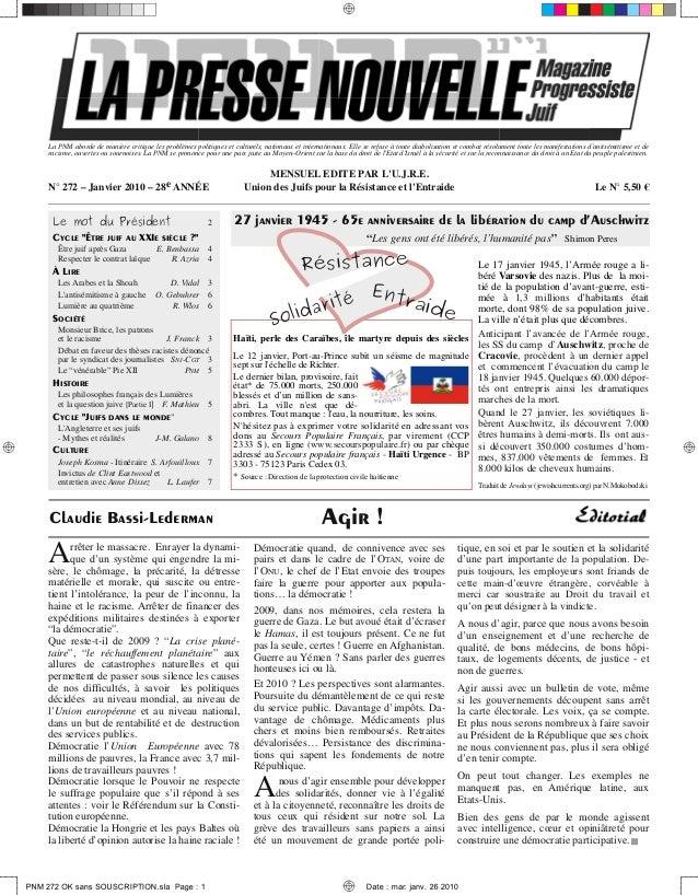 La Presse Nouvelle Magazine 272 janvier 2010
