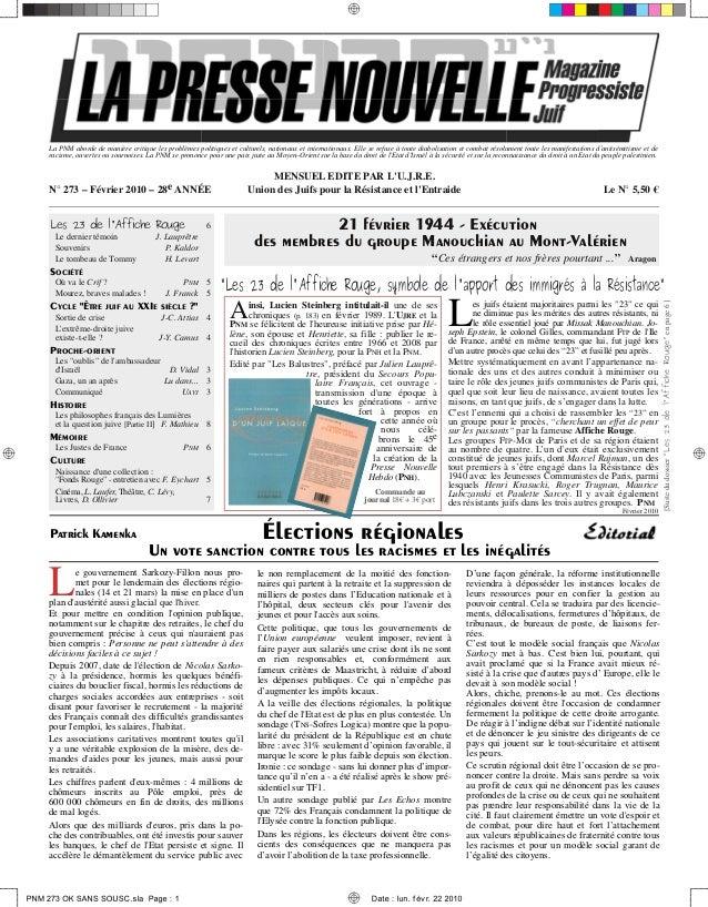 La Presse Nouvelle Magazine  273 février 2010