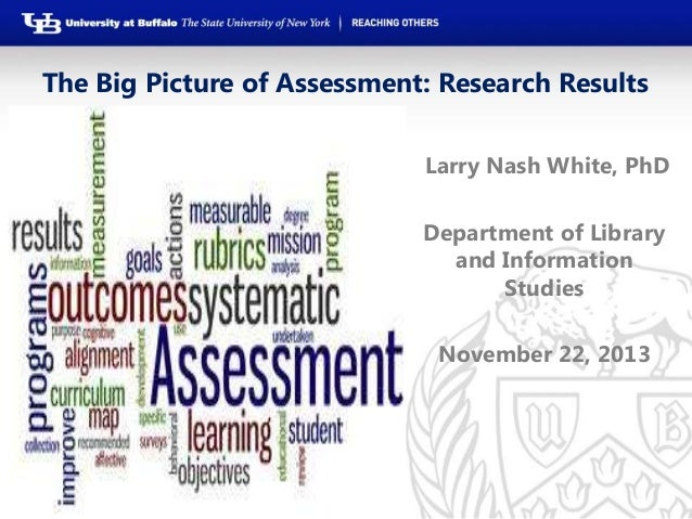 The Big Picture of Assessment: Research Results Larry Nash White, PhD Department of Library and Information Studies Novemb...