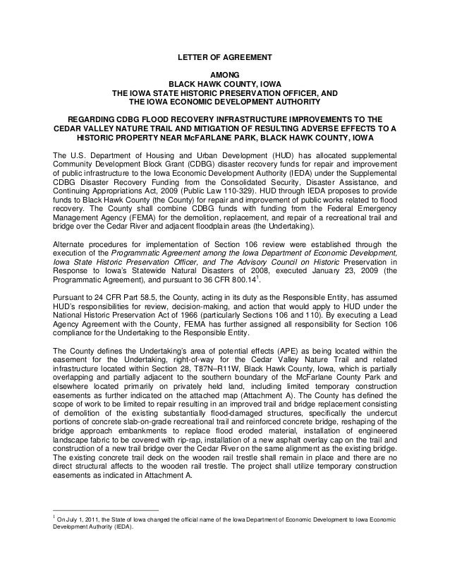 Letter of Agreement (LOA) Black Hawk County Bridge Replacement and Trail Repair (for mitigation of a historic property).