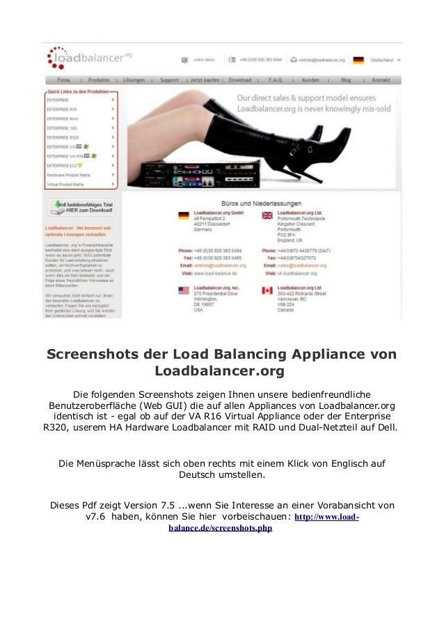 Screenshots der Load Balancing Appliance von Loadbalancer.org Die folgenden Screenshots zeigen Ihnen unsere bedienfreundli...