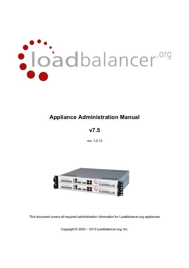 Loadbalancer Appliance Administrations Handbuch v7.5 - 215 Seiten