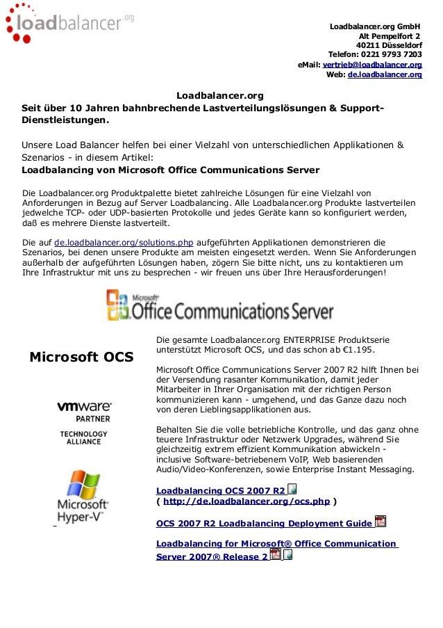 Load balancer Einsatz bei Microsoft OCS - Konfiguration und Nutzen