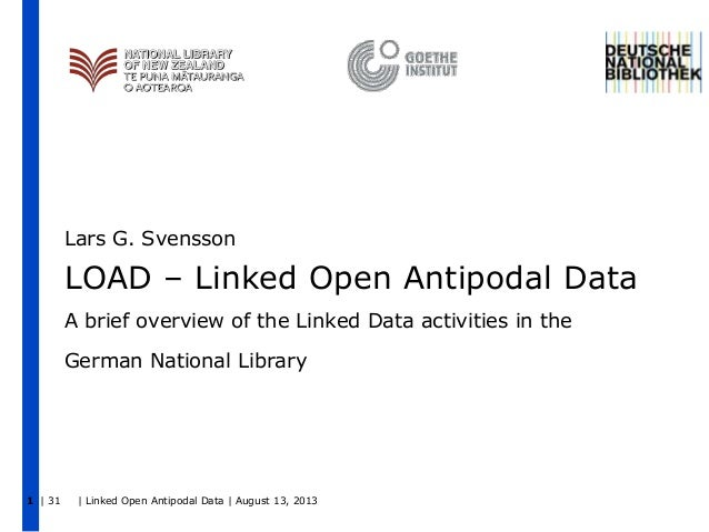 Lars G. Svensson  LOAD – Linked Open Antipodal Data A brief overview of the Linked Data activities in the German National ...