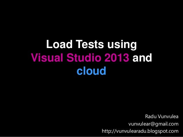 Load tests using Visual Studio 2013 and Azure