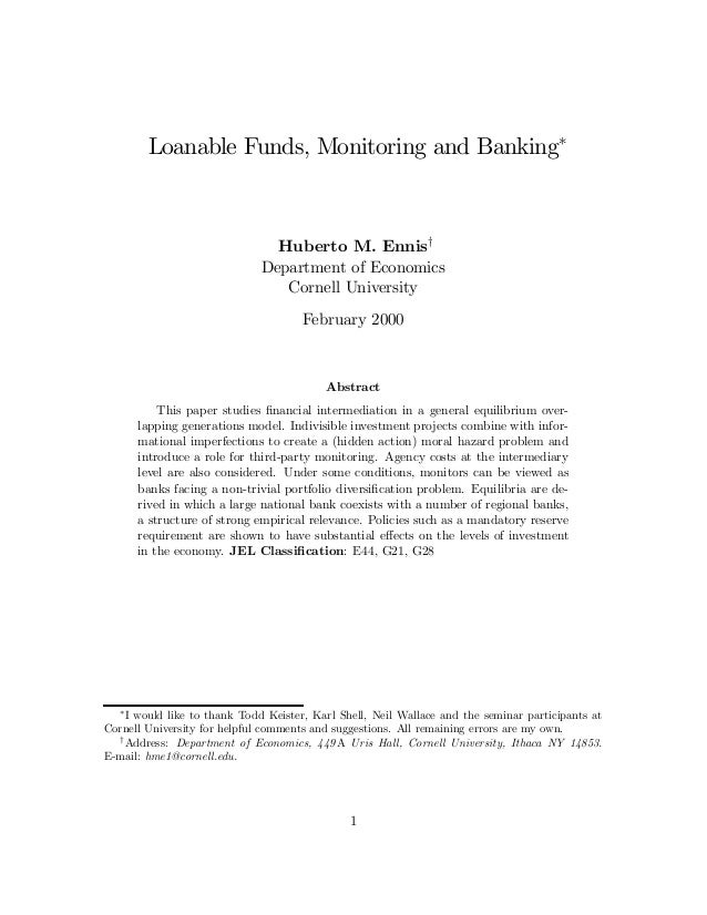 Loanable funds monitoring and banking