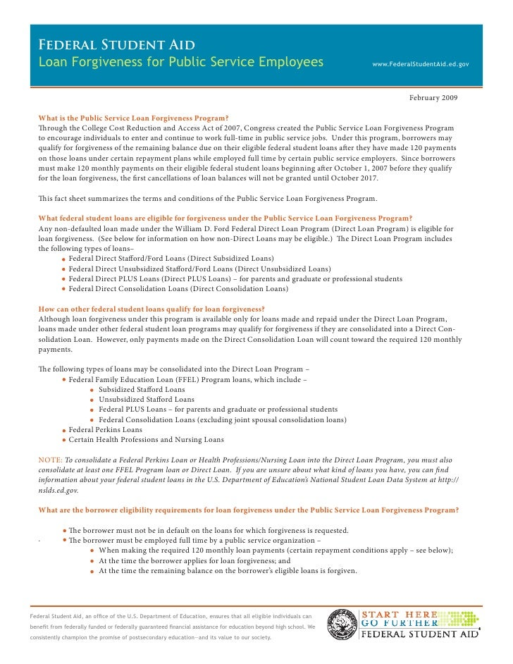 Loan forgiveness factsheet