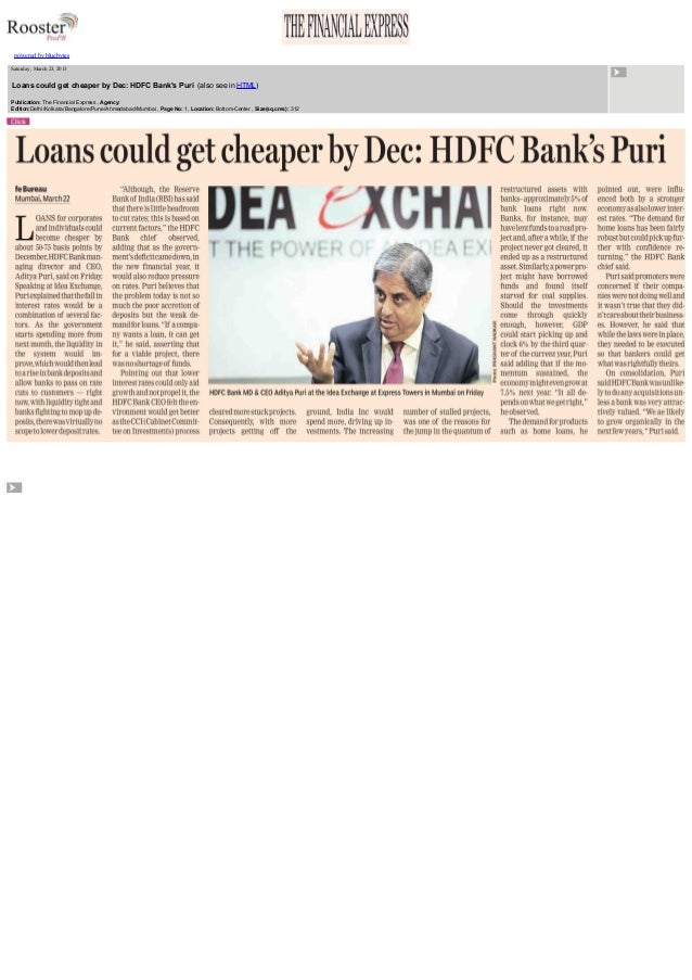 Loans could get cheaper by December - Interview of our MD, Mr. Aditya Puri