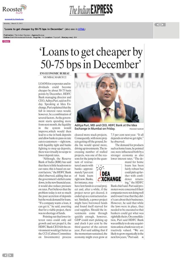 Loans to get cheaper by 50-75 bps in December - Interview of our MD, Mr. Aditya Puri