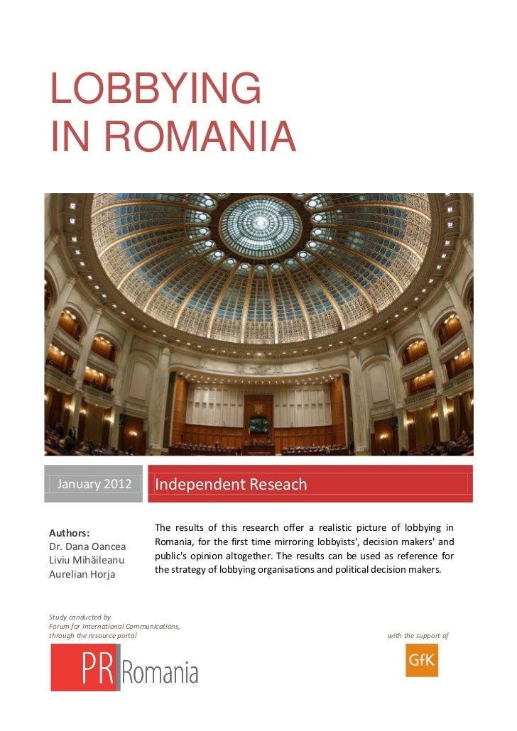 Lobbying in Romania - English Version - Aurelian Horja