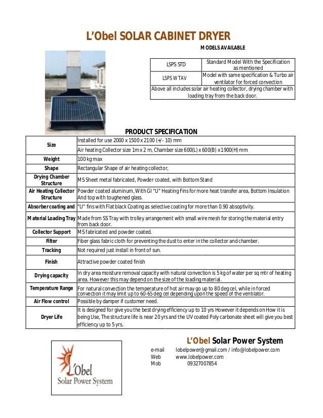 L'Obel SOLAR CABINET DRYER                                                                                   MODELS AVAILA...
