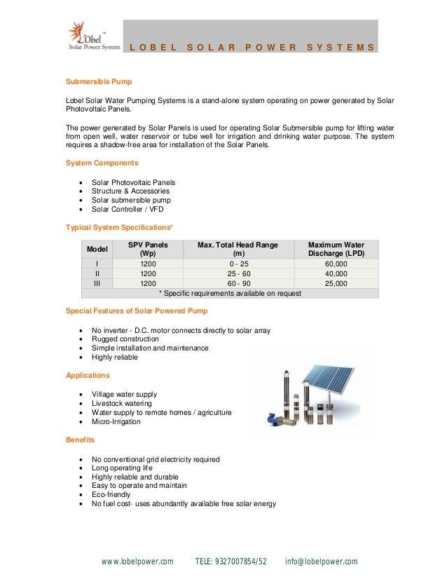 Lobel solar water pump