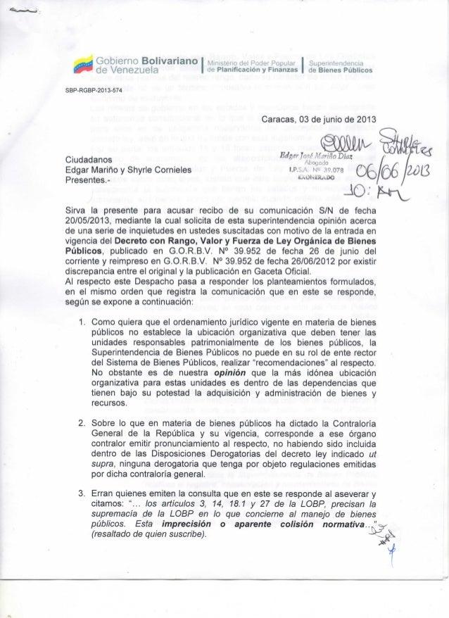 Ley Organica de Bienes Publicos aclaratorias 2 parte