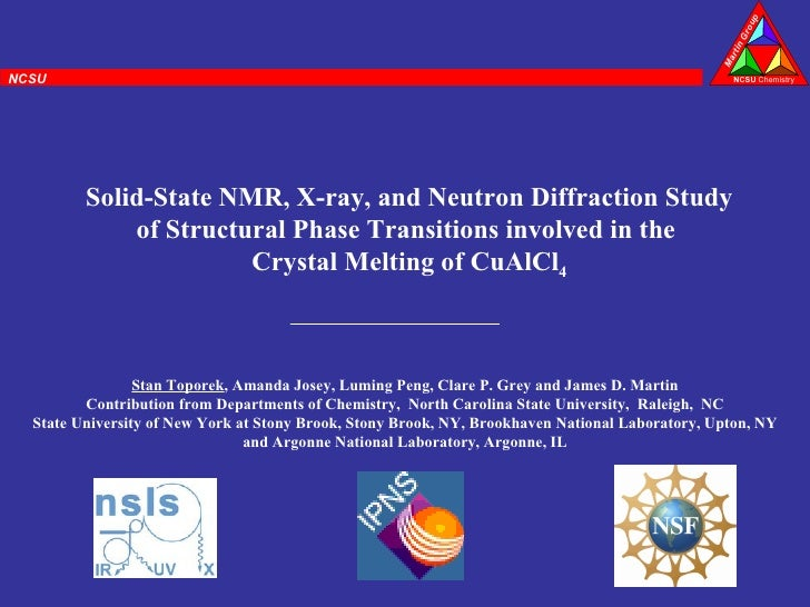 Solid-State NMR, X-ray, and Neutron Diffraction Study of Structural Phase Transitions involved in the  Crystal Melting of ...