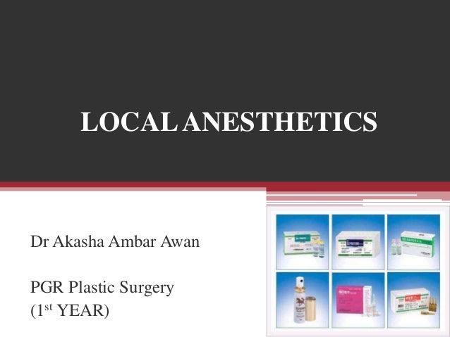 LOCAL ANESTHETICS  Dr Akasha Ambar Awan PGR Plastic Surgery (1st YEAR)