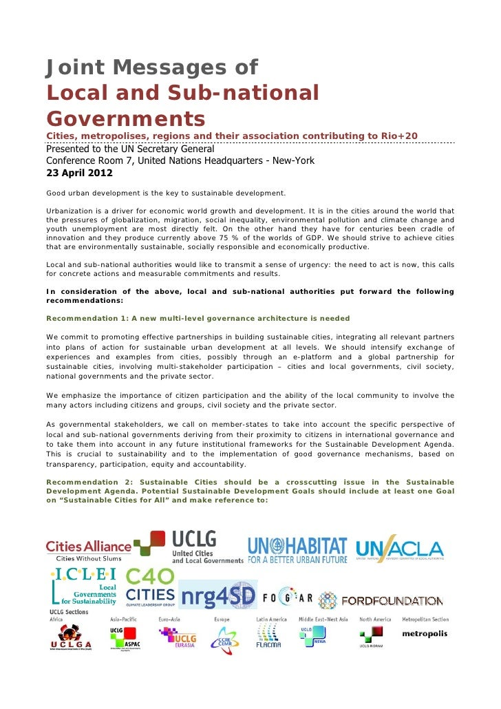 Joint Messages ofLocal and Sub-nationalGovernmentsCities, metropolises, regions and their association contributing to Rio+...