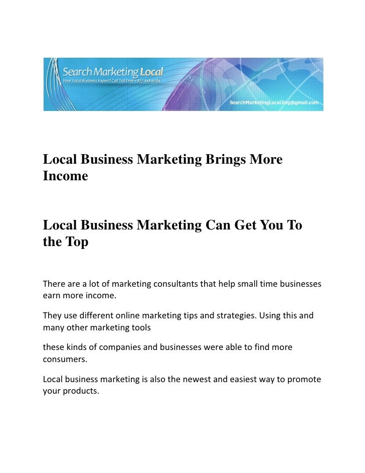 Local Business Marketing Brings MoreIncomeL...