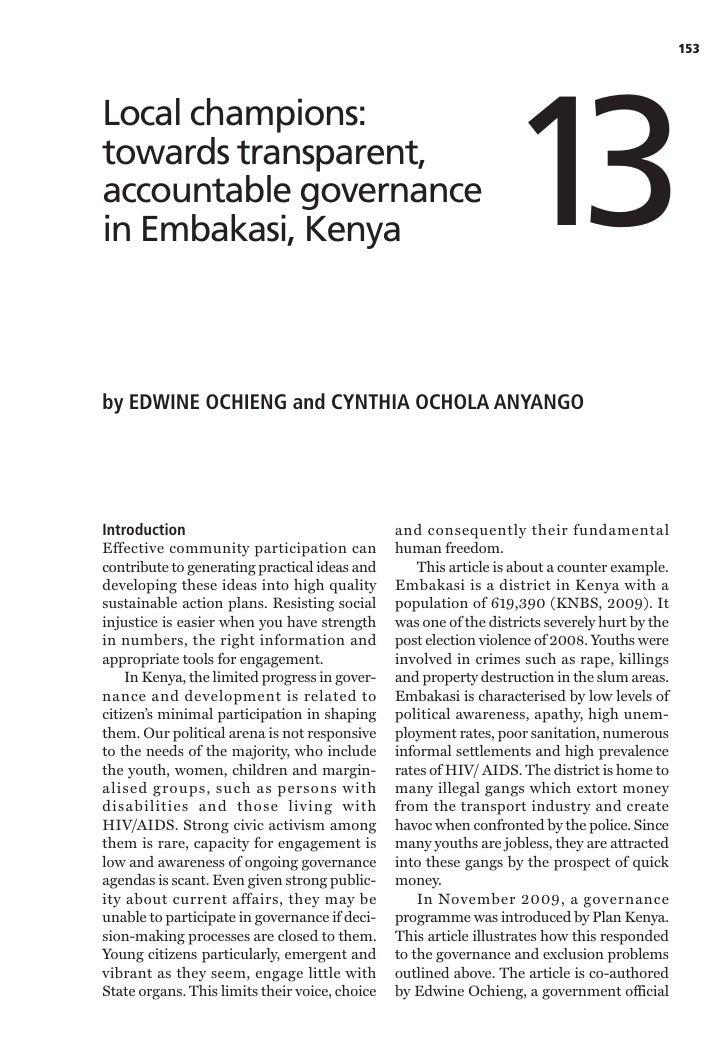 153                                                                  13Local champions:towards transparent,accountable gov...