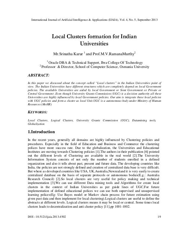 Local clusters formation for indian universities