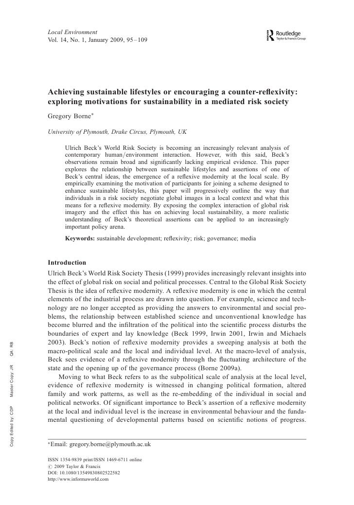 Local environmentAchieving sustainable lifestyles or encouraging a counter-reflexivity