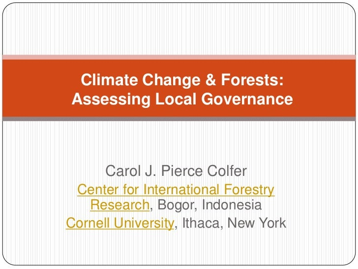 Climate change and forests: assessing local governance