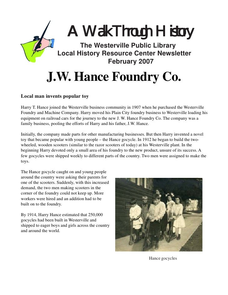 A Walk Through History                           The Westerville Public Library                    Local History Resource ...
