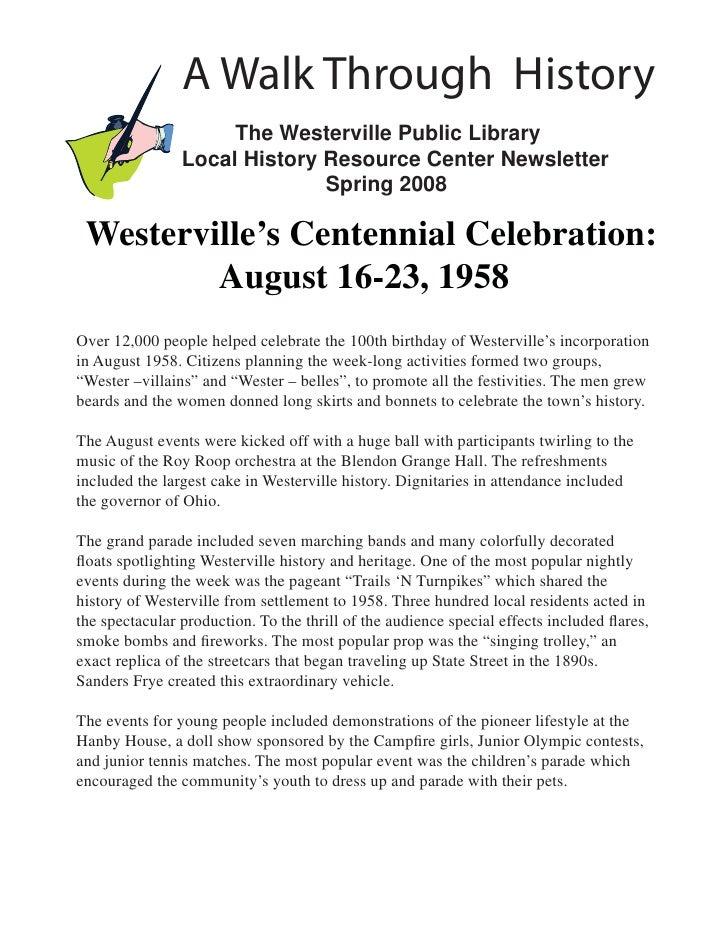 April 2008: Westerville Centennial Celebration