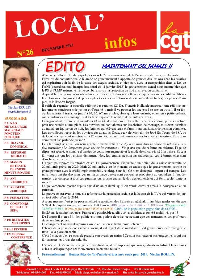 AL' LOC N°26  E 2013  BR DECEM  infos  MAINTENANT OU JAMAIS !!  Nicolas ROULIN secrétaire général  SOMMAIRE P 2: NAO METAL...