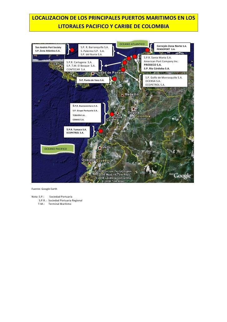 Localizacion de los principales puertos maritimos