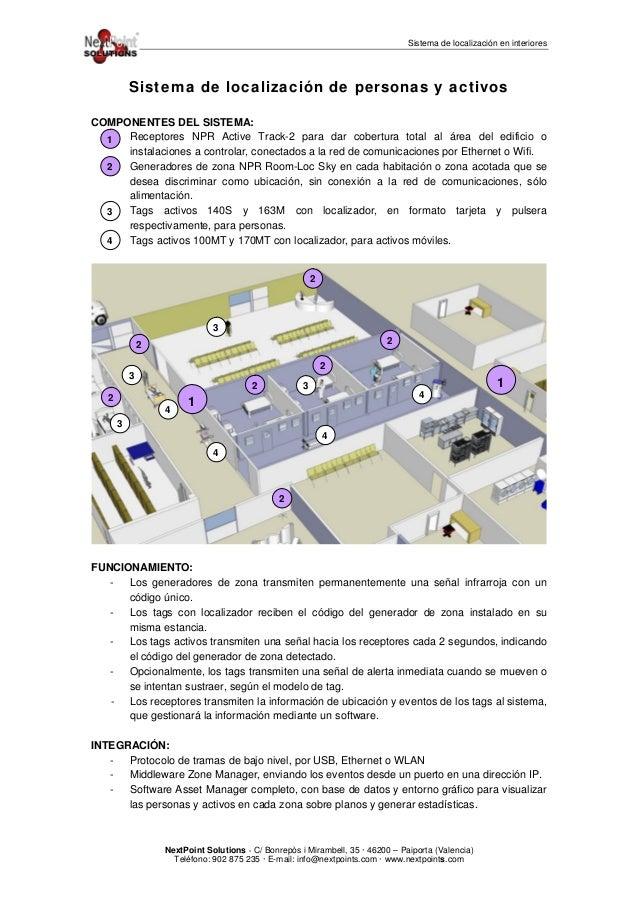 Sistema de localización en interiores Sistema de localización de personas y activos COMPONENTES DEL SISTEMA: - Receptores ...