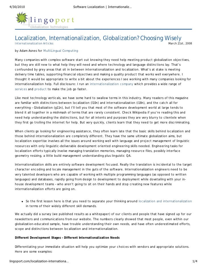 4/30/2010                                   Software Localization   Internationaliz…        Localization, Internationaliza...