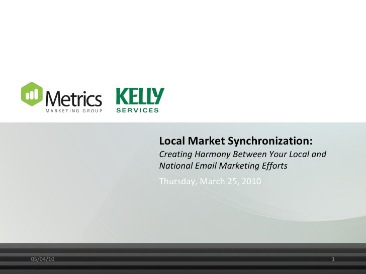 Local Market Synchronization:  Creating Harmony Between Your Local and National Email Marketing Efforts Thursday, March 25...